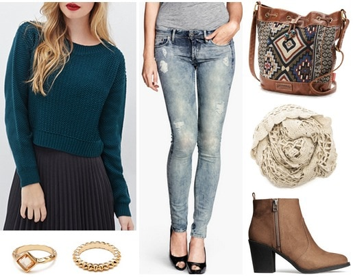 Forever 21 sweater, jeans, booties, scarf