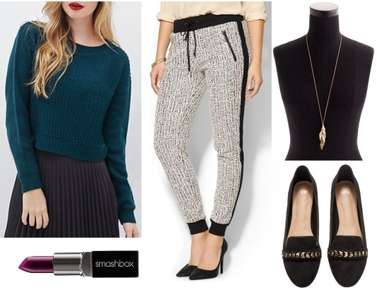 Forever 21 sweater, joggers, loafers
