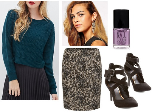 Forever 21 sweater, leopard skirt, strappy heels