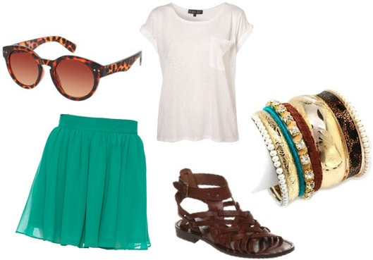 Outfit inspiration: Forever 21 teal skirt, brown sandals, basic white tee, jewelry