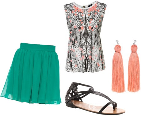 Outfit inspiration: How to wear a Forever 21 teal skirt with a coral patterned top and sandals