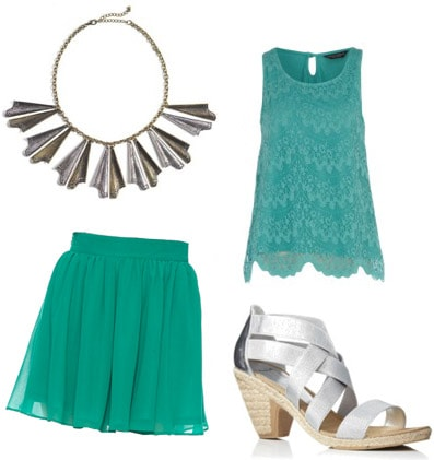 Outfit inspiration: Forever 21 teal skirt, teal lace top, silver heels, statement necklace