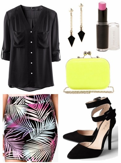 Forever 21 tropical print skirt, black blouse, neon yellow clutch