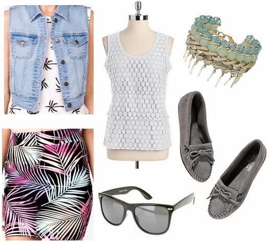 Forever 21 tropical print skirt, denim vest, gray moccasins