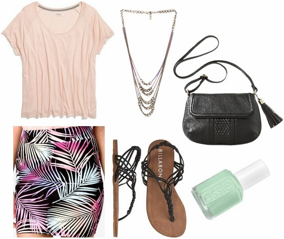 Forever 21 tropical print skirt, light pink tee, sandals