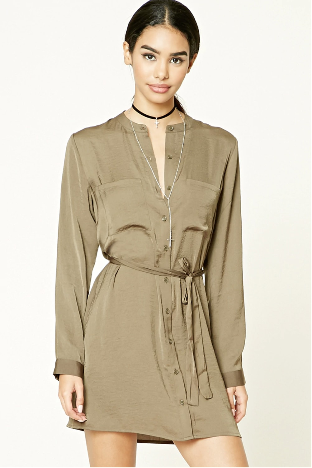 Forever 21 Satin Button Front Shirt Dress in Olive