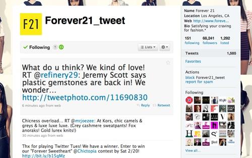 Forever 21 Twitter