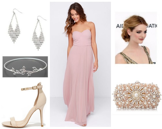 Feminine outfit for a formal event - pink maxi dress, strappy heels, earrings, statement clutch