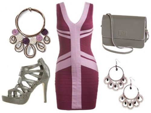Formfitting purple dress outfit