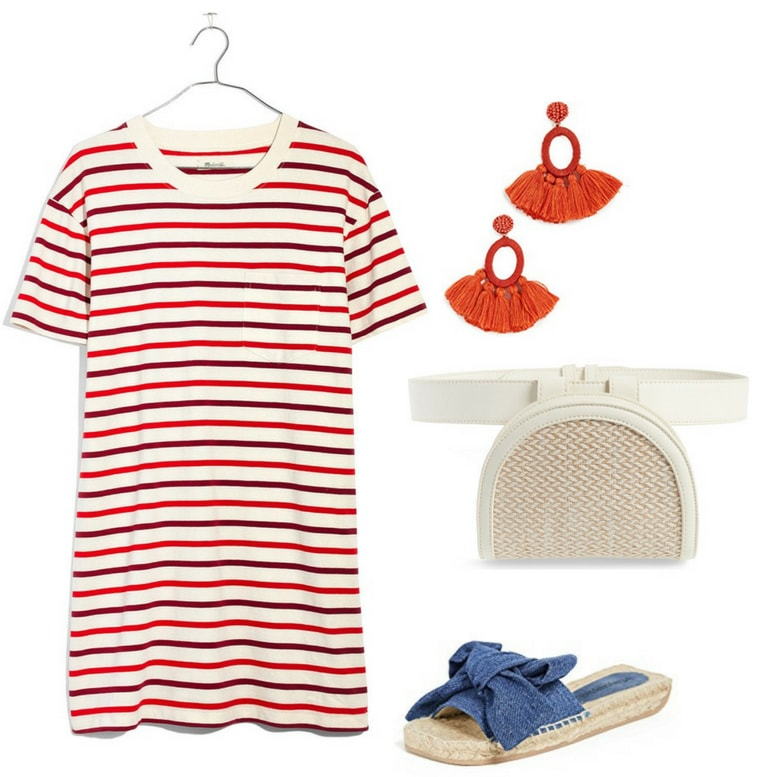 Fourth of July outfits for 2018: Blue and red striped shirtdress, red tassel earrings, cream fanny pack, blue chambray sandals
