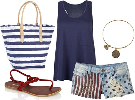 Fourth of July outfit 1: American flag shorts, striped beach bag, navy tank, statue of liberty bracelet, sandals