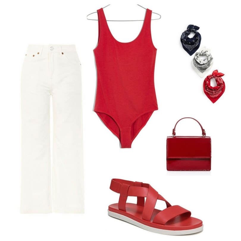 Fourth of July outfit for 2018: White wide leg jeans, red one-piece bodysuit, bandana, red purse, red sandals