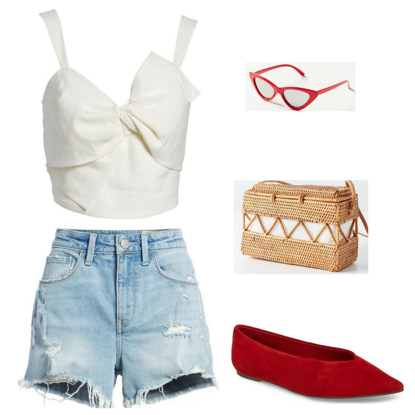 Fourth of July outfit ideas for 2018: Ripped cutoff denim shorts, white bow front tank top, red cat eye glasses, red suede pointed toe flats, straw handbag