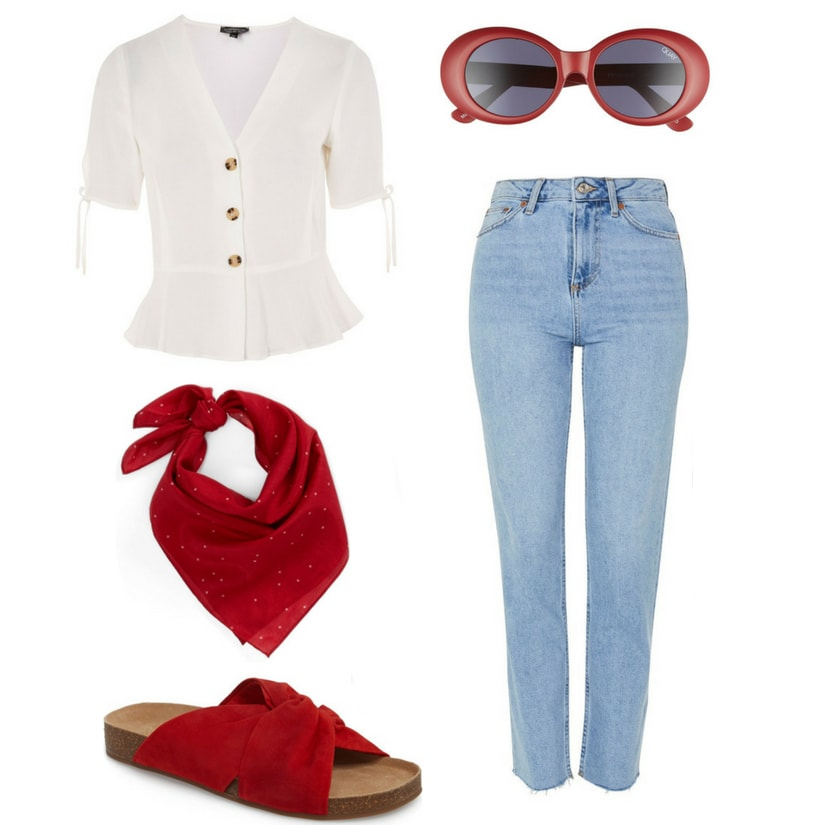 Fourth of July outfit ideas: White button-down blouse, light wash mom jeans, red bandana, red sunglasses, red footbed sandals