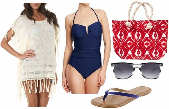 Fourth of july outfit navy swimsuit, flip flops, white coverup, red tote