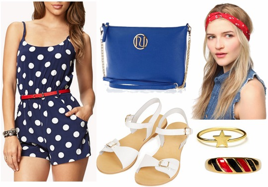 Fourth of july outfit polka dot romper, white sandals, red headwrap