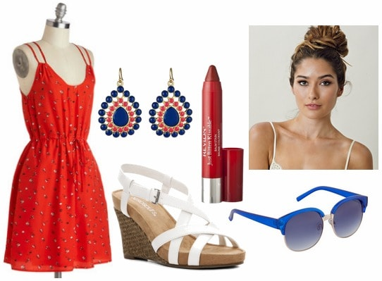 Fourth of july outfit red sundress, white wedges, statement earrings