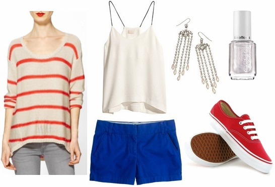 Fourth of july outfit white cami, blue shorts, red sneakers