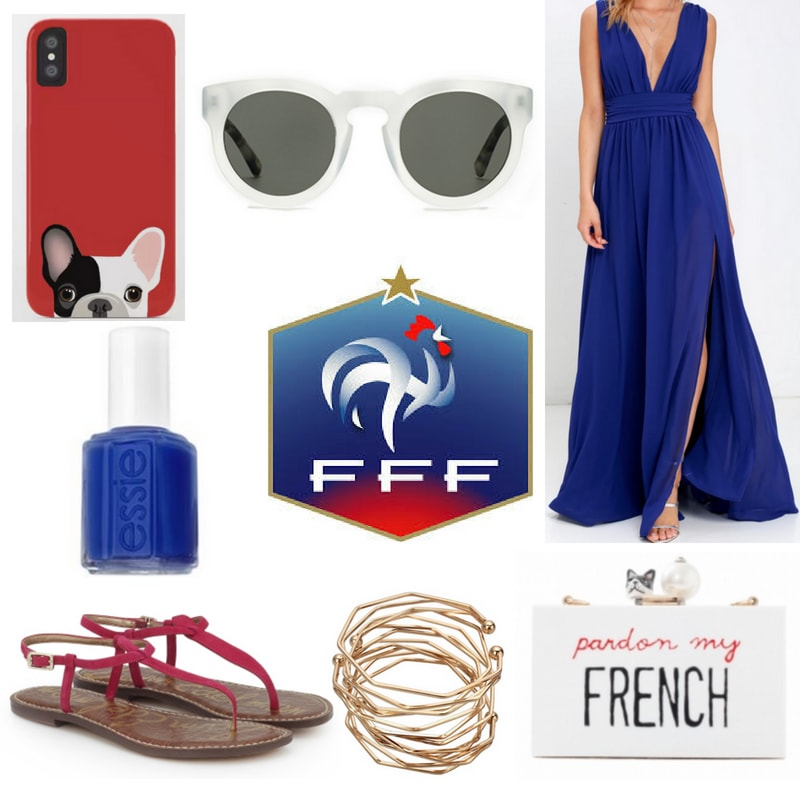 FIFA World Cup fashion: Outfit inspired by France with blue maxi dress, red sandals, blue nail polish, white sunglasses, french bulldog phone case, bracelets, and pardon my french clutch