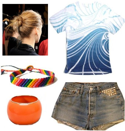 Outfit inspired by Frank Ocean: Wave tank, studded denim shorts, friendship bracelet, orange bangle, messy bun