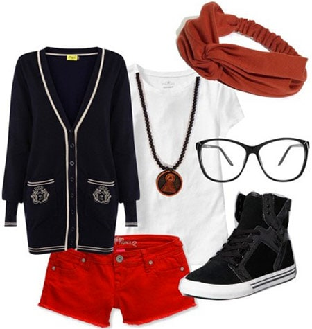Outfit inspired by Frank Ocean: Red denim shorts, basic tee, black cardigan, high-tops, plastic frame glasses, headband, necklace
