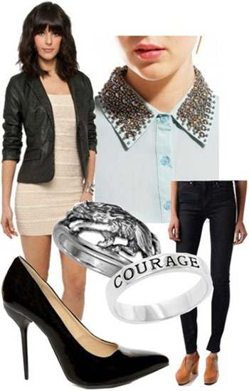 Outfit inspired by Frank Ocean: Studded collar shirt, skinny jeans, pointy toe heels, courage ring, leather jacket