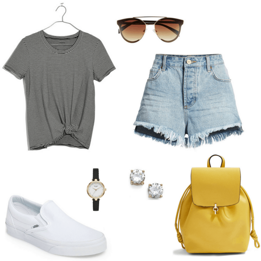 Nordstrom outfit with frayed denim shorts.