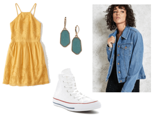 Freddi Fish Outfit Inspiration: Yellow eyelit skater dress, white hi-top converse, gold tone aqua drop stone earrings and a faded wash denim jacket