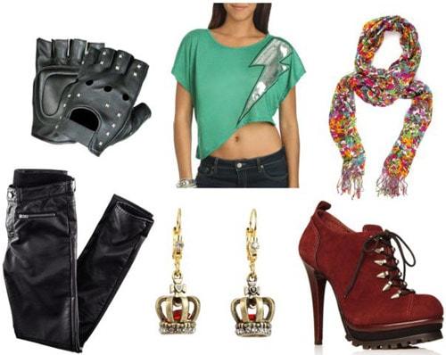 Freddie Mercury Outfit 1: Skinny jeans, high-heeled booties, crop top, scarf, gloves