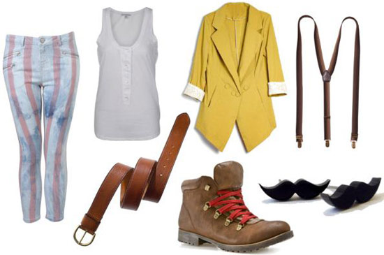 Freddie Mercury Outfit 2: Yellow blazer, boots, tank, suspenders
