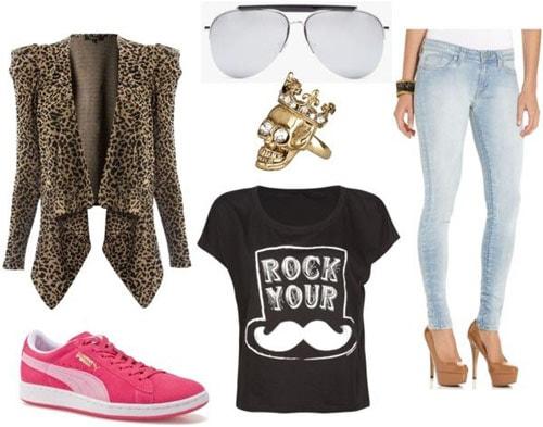 Freddie Mercury Outfit 3: Leopard jacket, pink shoes, aviators
