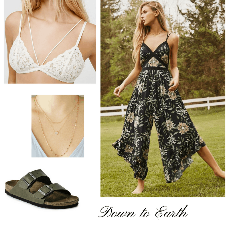 Bralette outfits: Cute bralette outfit with white bralette, black patterned jumpsuit, gold layered necklaces, Birkenstock sandals