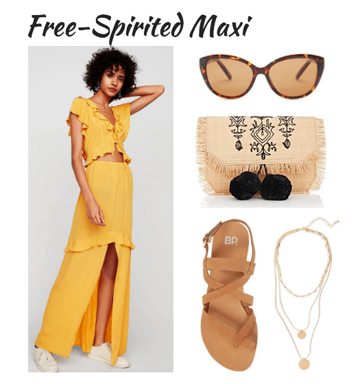 yellow maxi, cat-eye shades, straw clutch, sandals, pendant necklaces