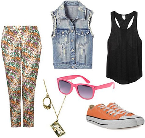 Outfit inspired by the Fresh Prince of Bel-Air: Patterned pants, denim vest, tank top, orange converse, pink sunglasses, necklace