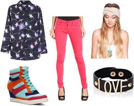 Outfit inspired by the Fresh Prince of Bel-Air: Pink skinnies, sneaker wedges, patterned blouse, cuff bracelet, head wrap