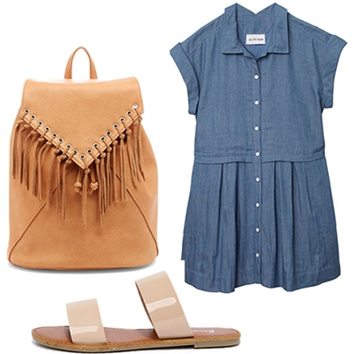Back to school fashion: Fringe backpack, denim dress, neutral sandals