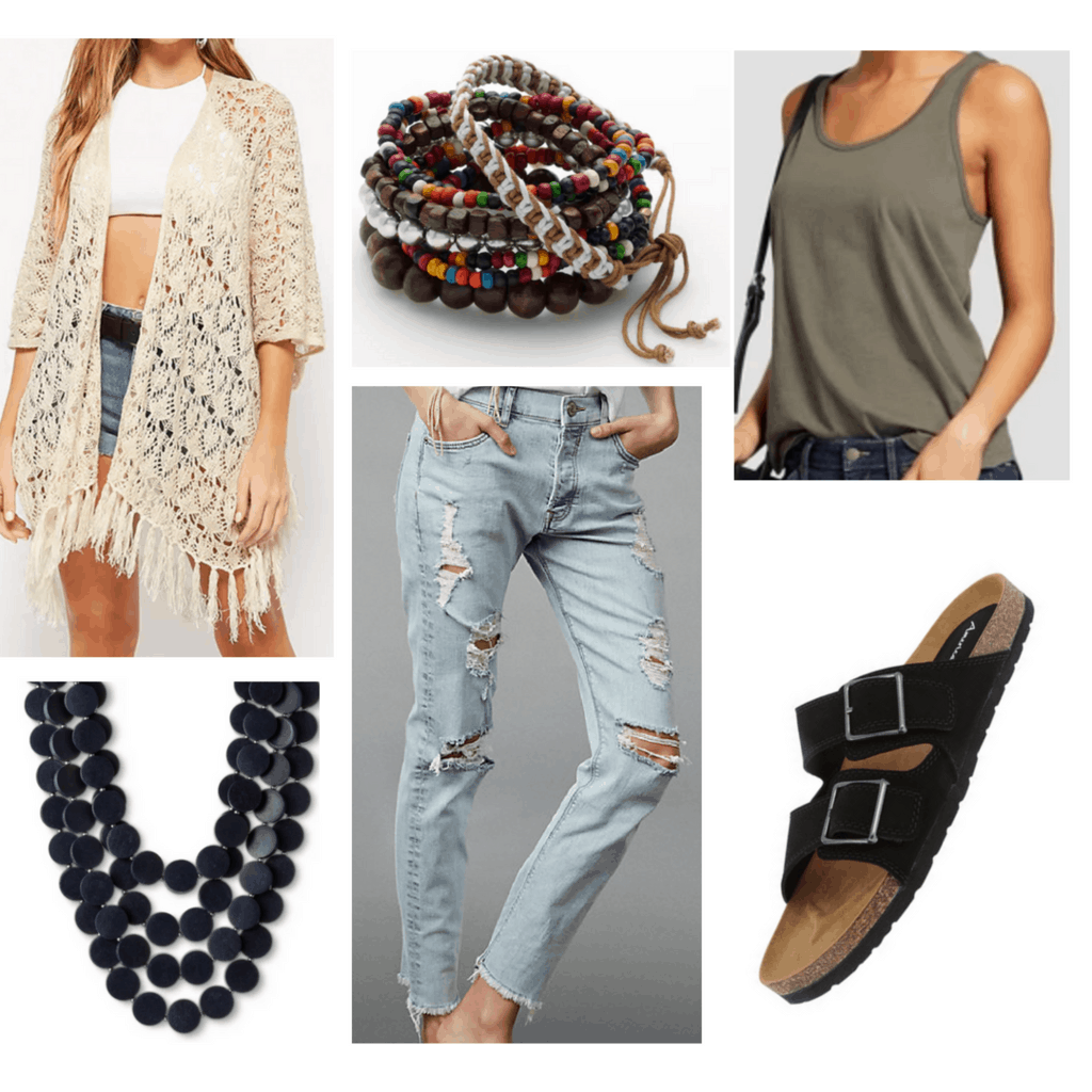 Beige fringe cardigan with green tank, light distressed jeans, beaded bracelets, bead necklace, and black sandals