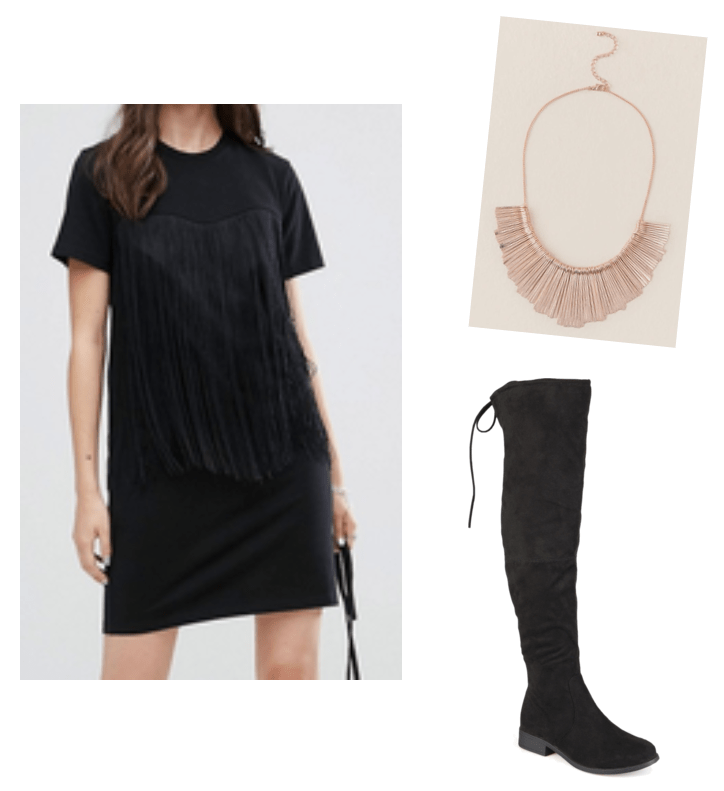 How to wear Spring 2018 trends now: Fringe dress outfit with black fringe t-shirt dress, rose gold statement necklace, black suede over-the-knee boots