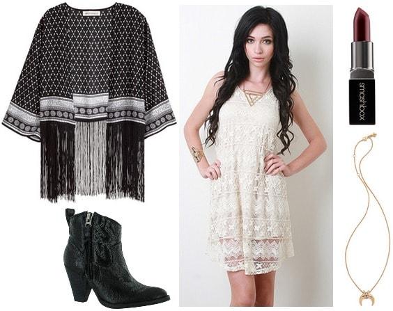 fringe kimono, lace dress, booties