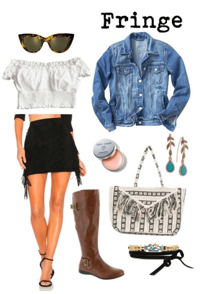 cat-eye glasses, white off shoulder top, fringe skirt, denim jacket, lip gloss, brown boots, fringe bag, turquoise earrings, choker