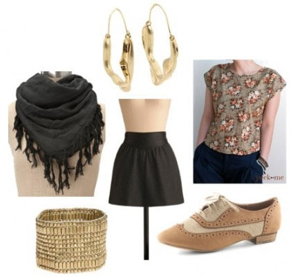 Outfit idea - how to wear a fringe scarf with a floral shirt and simple skirt
