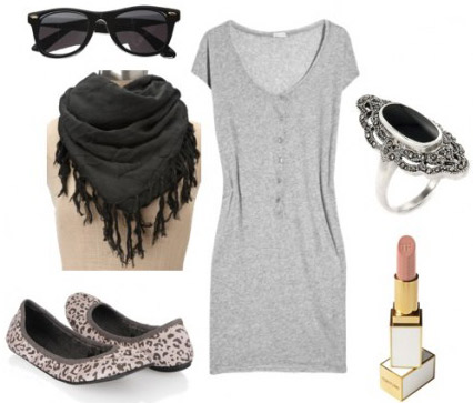 Outfit idea - how to wear a fringe scarf with a gray dress and flats