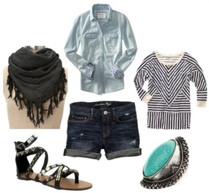 Outfit idea - how to wear a fringe scarf with a striped shirt and shorts