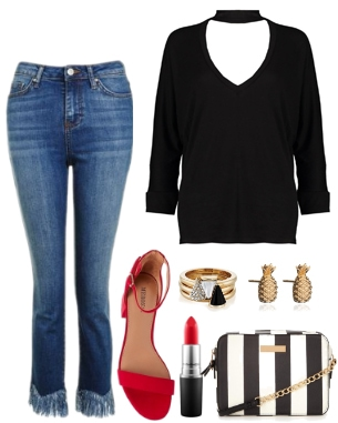 How to wear fringed jeans for a night out: Fringe jeans, black choker top, accessories, red shoes