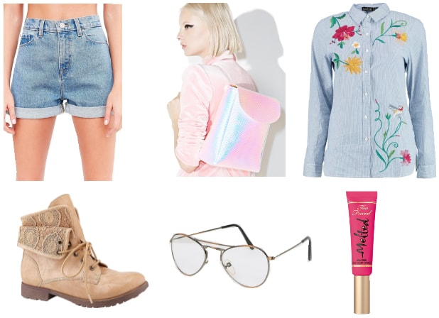Outfit inspired by Frisk from Underale: Denim shorts, chambray shirt with embroidery, hologram backpack