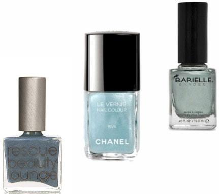 Frosty blue nail polish
