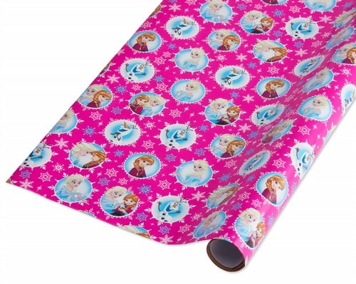 Frozen Anna and Elsa wrapping paper in pink