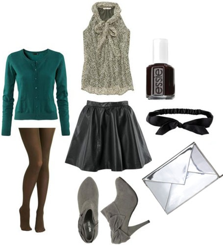 How to wear a full leather skirt - Outfit idea
