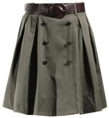 Full skirt in army green with buttons