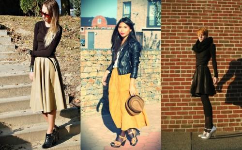 Full Leather Skirt Street Style
